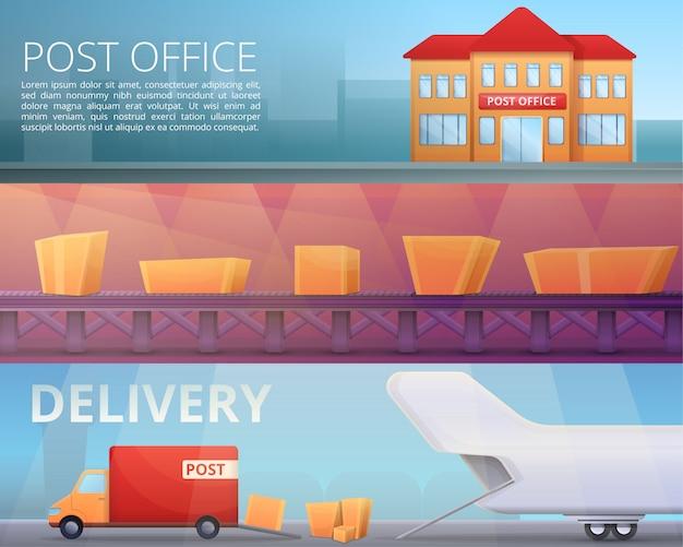 Levering postbode illustratie ingesteld op cartoon stijl Premium Vector
