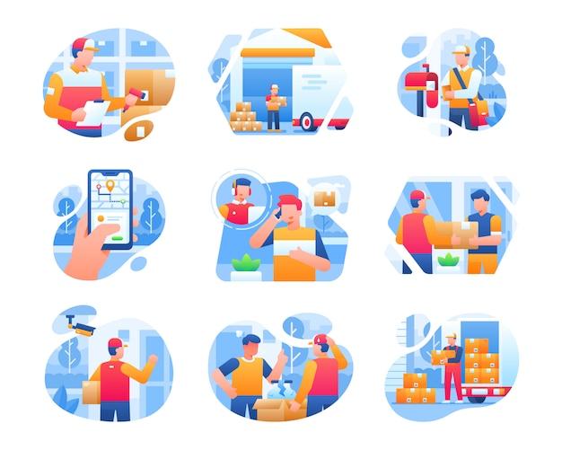 Levering service illustratie collectie met mannelijke courier karakter Premium Vector