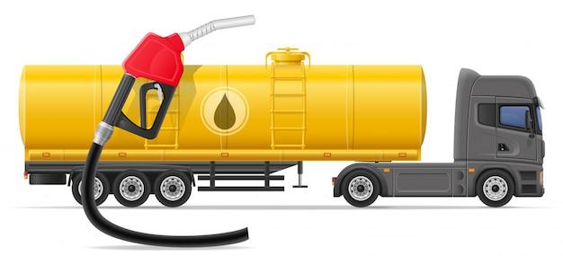 Levering van de vrachtwagen de semi aanhangwagen en vervoer van brandstof voor de vectorillustratie van het vervoersconcept Premium Vector