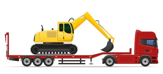 Levering van de vrachtwagen de semi aanhangwagen en vervoer van het concept vectorillustratie van bouwmachines Premium Vector