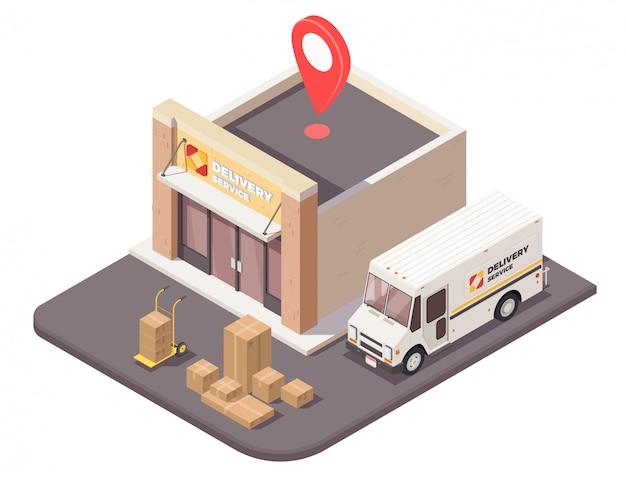 Leveringslogistiek verzendings isometrische samenstelling met openluchtmening van logistieke de bouw van het bedrijfsbureau pakketten en autoillustratie Gratis Vector