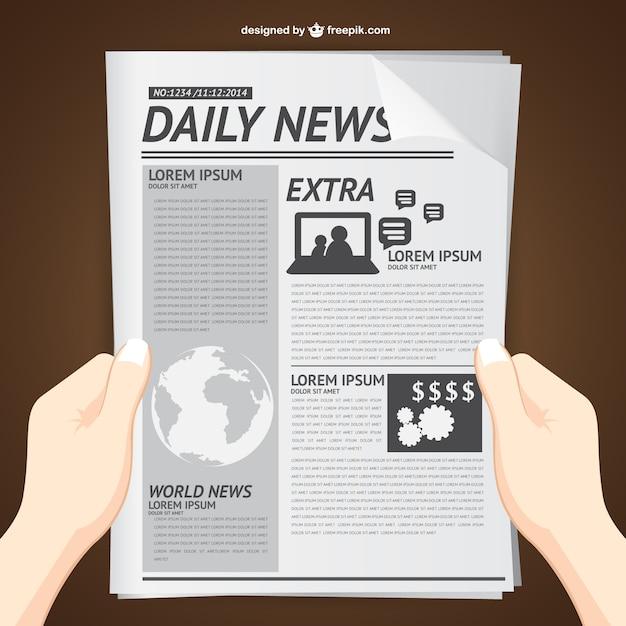 Lezen dagelijks nieuws vector Premium Vector