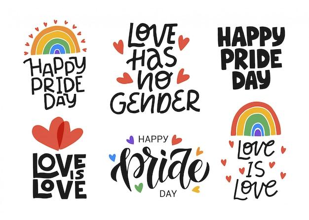 Lgbt-afbeelding instellen. concept voor trotsgemeenschap. happy pride day, love is love handgetekende moderne belettering offerte. festival slogan. Premium Vector