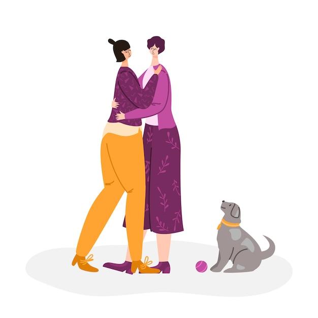 Lgbt-concept - paar homoseksuele vrouwen die samen chatten, glimlachen en knuffelen. jong vrouwelijk romantisch koppel Premium Vector