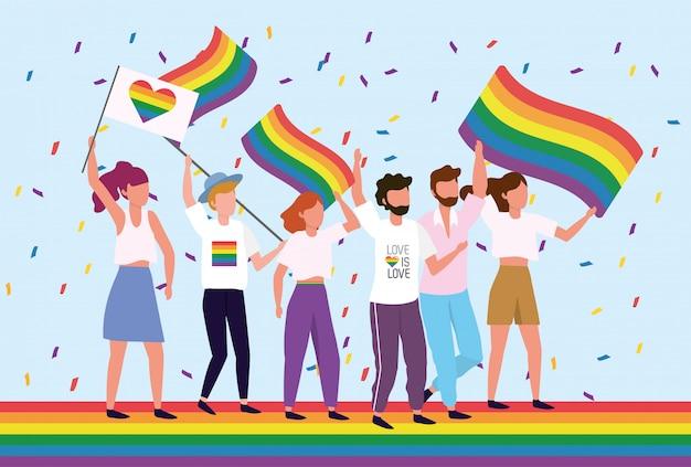 Lgbt-gemeenschap met regenboogvlag naar vrijheid Premium Vector