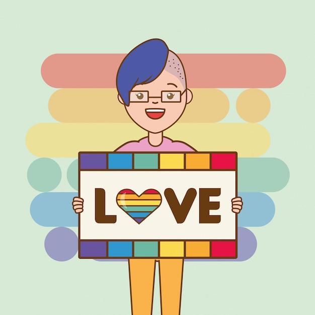 Lgbt-persoon met liefdebord Gratis Vector