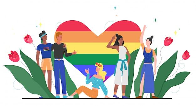 Lgbt-trots regenboog hart concept illustratie. cartoon gelukkige lgbt-gemeenschap diversiteit mensen staan samen met regenboog hart, symbool van liefde, gelijkheid, tolerantie op wit Premium Vector