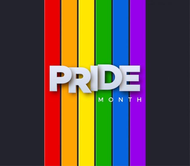 Lgbtq pride month. illustratie. witboek label op regenboog vlag achtergrond. mensenrechten of diversiteit concept. lgbt-evenement bannerontwerp. Premium Vector