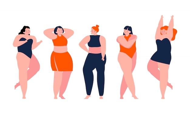 Lichaam positief - gelukkige meisjes die hun lichaam bewonderen. hou van jezelf. hou van je lichaam concept Premium Vector
