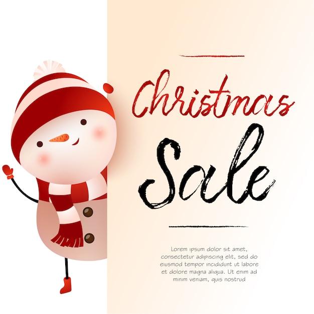 Licht beige de bannerontwerp van de kerstmisverkoop met sneeuwman en steekproeftekst Gratis Vector