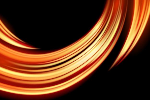 Licht curve gloeien effect op zwarte achtergrond Premium Vector