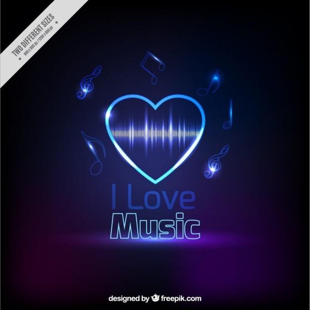 Licht hart muzikale achtergrond Gratis Vector