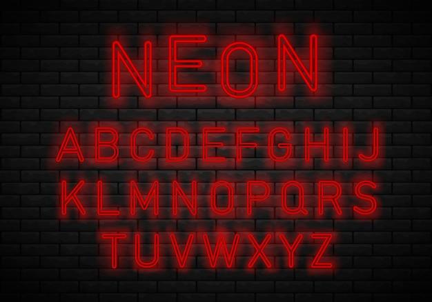 Licht neon lettertype alfabet Premium Vector