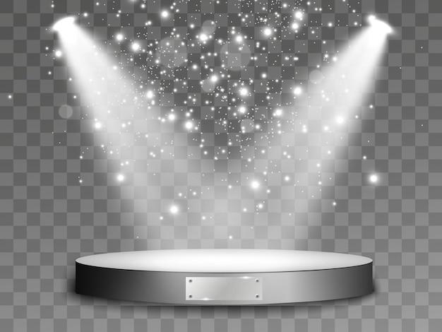 Licht op het podium. scène voor de prijsuitreiking. spotlight verlicht de scène. illustratie. Premium Vector