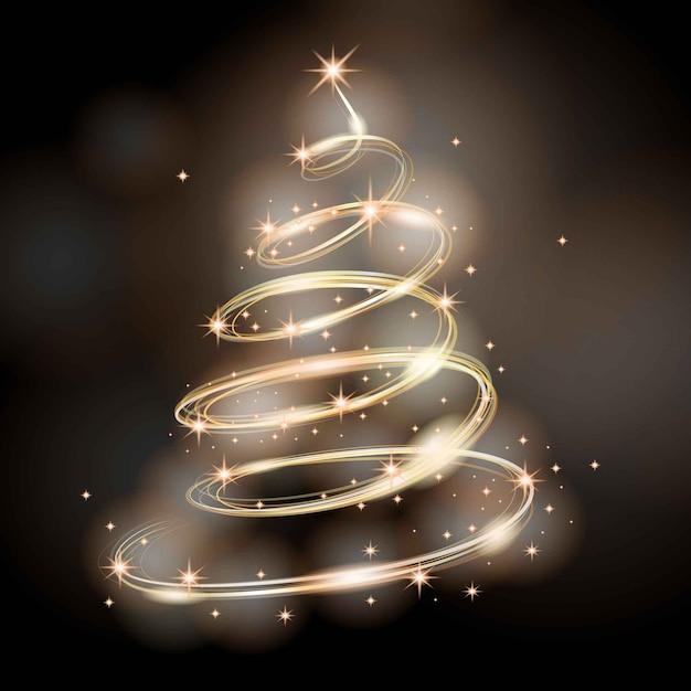 Licht trail kerstboom concept Gratis Vector