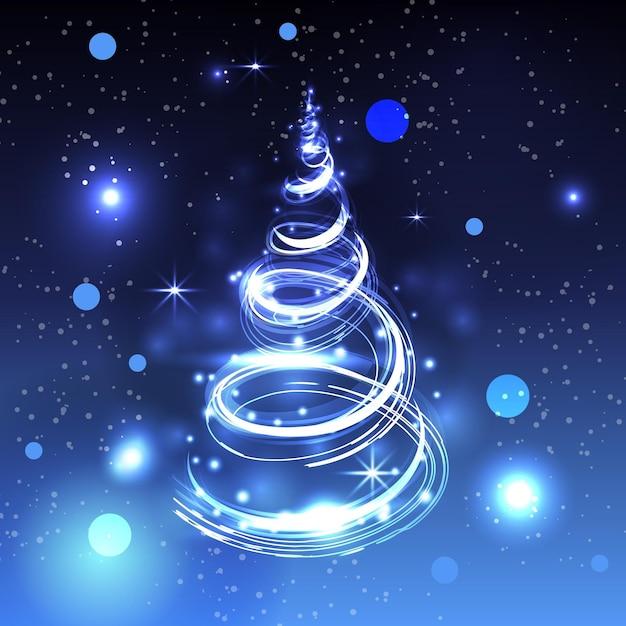 Licht trail kerstboom concept Premium Vector