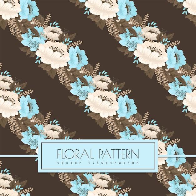 Lichtblauw bloem naadloos patroon als achtergrond Gratis Vector