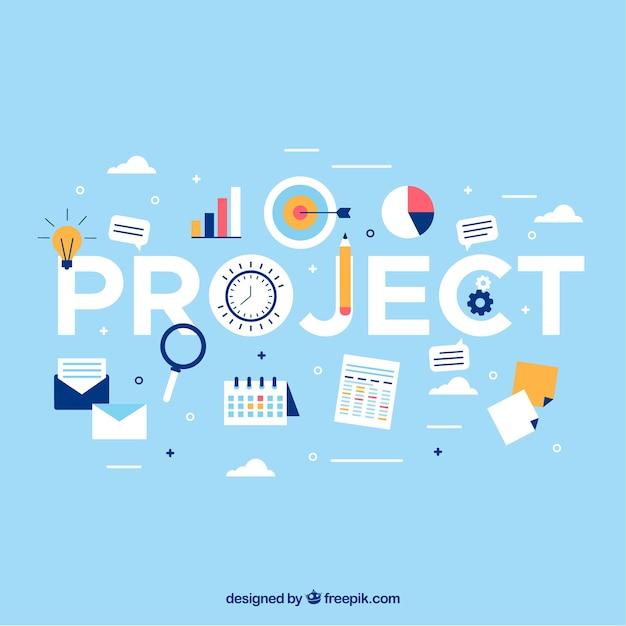 Lichtblauw projectmanagementconcept Premium Vector