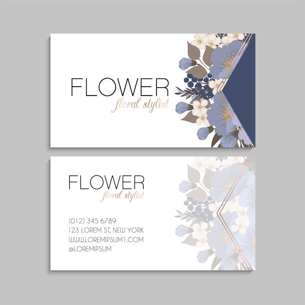 Lichtblauw visitekaartjes bloem sjabloon Gratis Vector