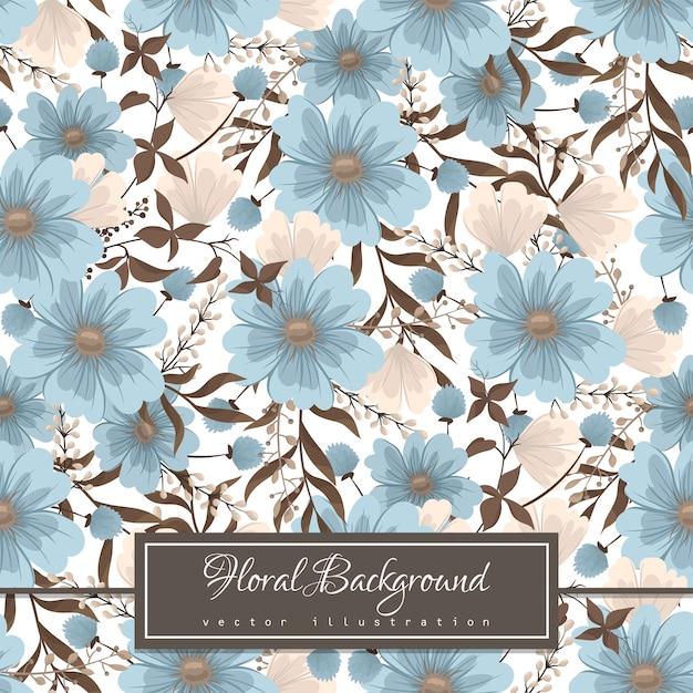 Lichtblauwe bloem naadloze achtergrond Gratis Vector