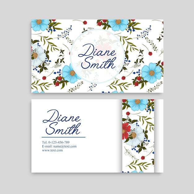 Lichtblauwe bloemvisitekaartjes Gratis Vector
