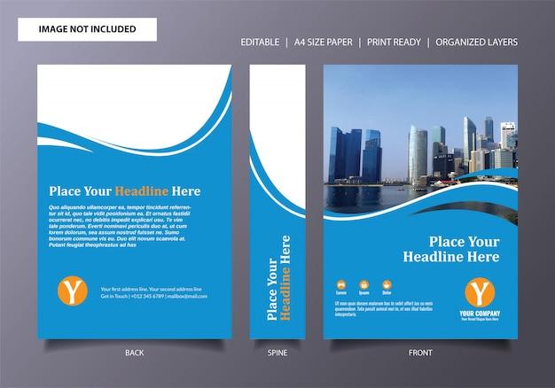 Lichtblauwe boekomslagsjabloon Premium Vector