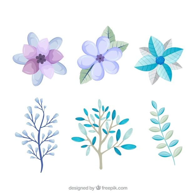 Lichtblauwe en lila winterbloemen Gratis Vector