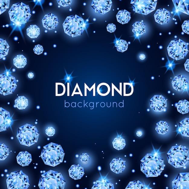 Lichtblauwe kleur gem diamant achtergrond met placer van diamanten in een cirkel Gratis Vector