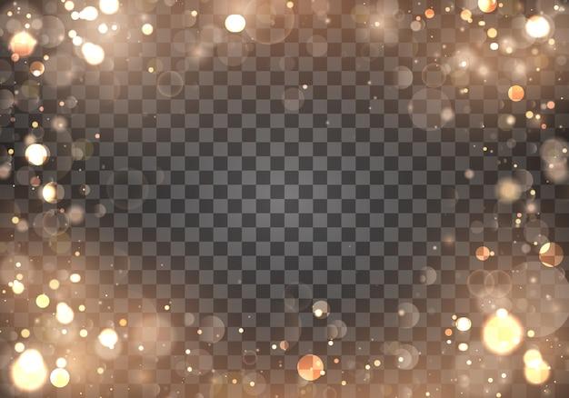 Lichte abstracte gloeiende gouden bokehlichten op transparant. wazig licht frame. Premium Vector