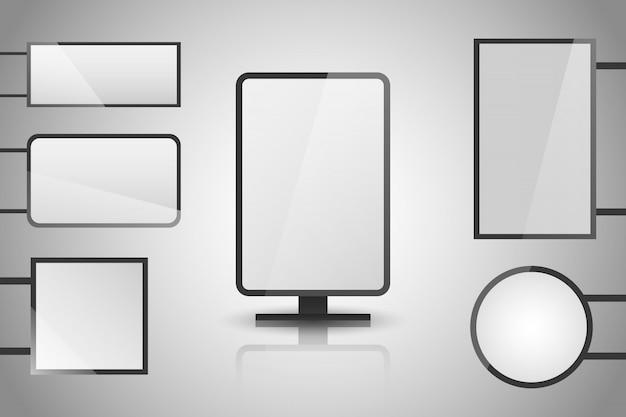 Lichte dozen. verlichte lightbox met lege ruimte voor ontwerp. Premium Vector