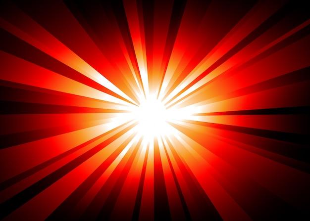 Lichte explosieachtergrond met oranje en rode lichten. Premium Vector