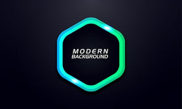Lichte gloed zeshoek groen op donkere achtergrond Premium Vector