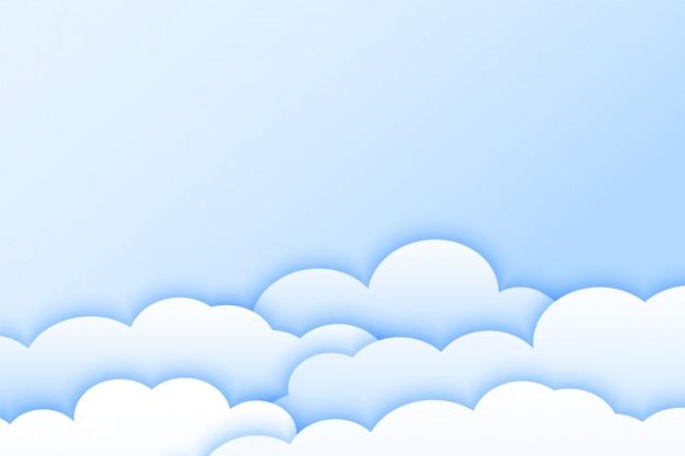 Lichte kleur wolken achtergrond in papercut-stijl Gratis Vector
