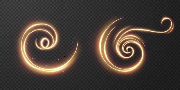 Lichte realistische curve. magisch sprankelend gouden gloedeffect. Premium Vector