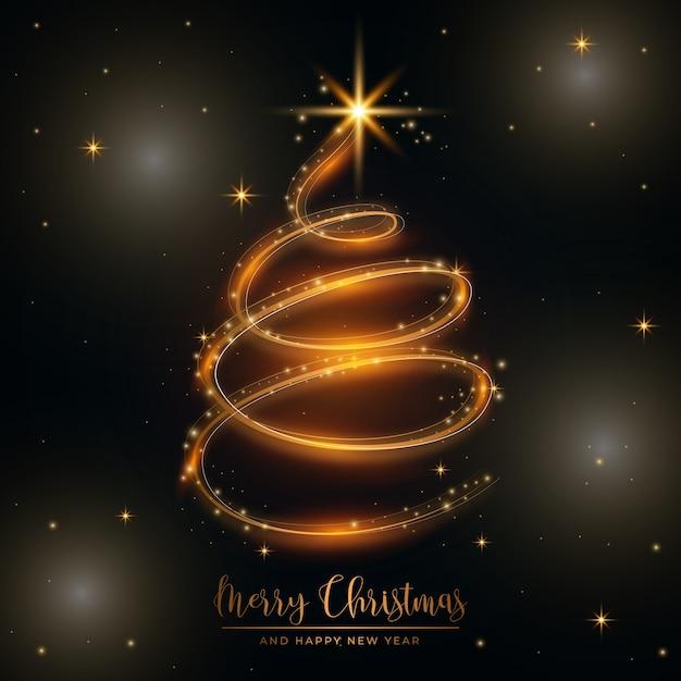 Lichte sleep kerstboom illustratie Gratis Vector