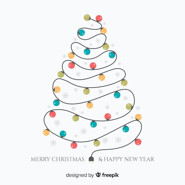 Lichte slinger kerstboom achtergrond Gratis Vector