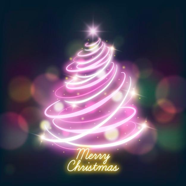 Lichte trail kerstboom Gratis Vector
