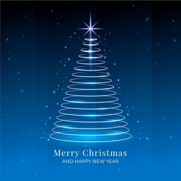Lichte trail kerstboom Premium Vector