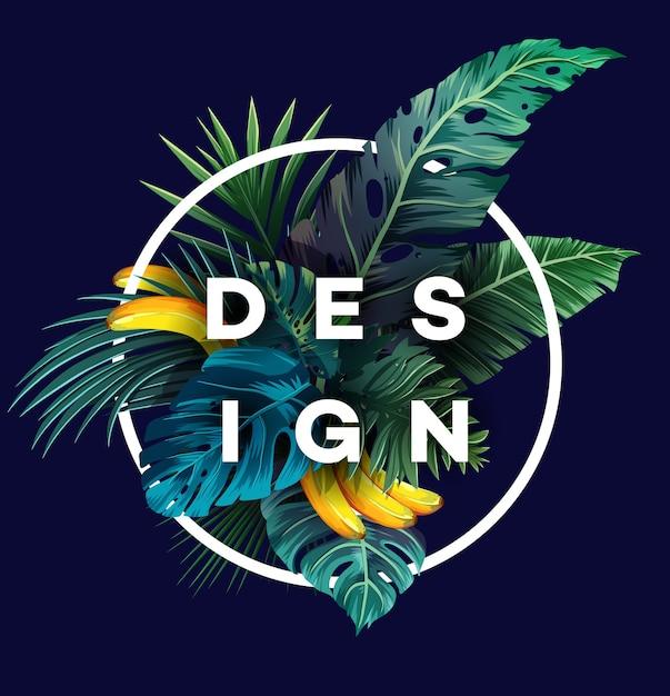 Lichte tropische achtergrond met jungle planten. exotisch patroon met palmbladeren. Premium Vector