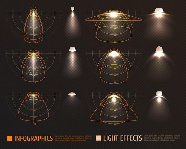 Lichteffecten infographics Gratis Vector