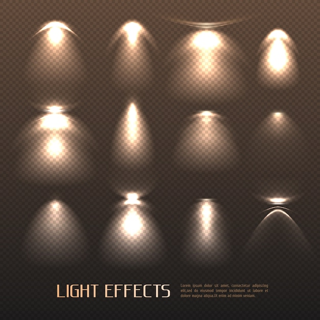 Lichteffecten instellen Gratis Vector