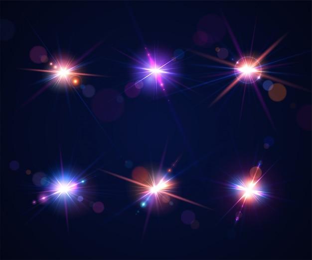 Lichteffecten van flitsen en flares. set van lensverblinding van camera bij fotograferen tegen de zon Premium Vector