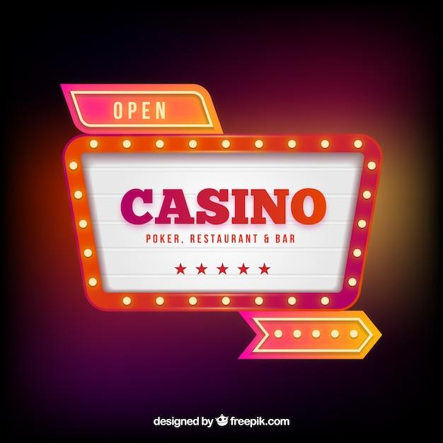 Lichtgevende casino poster achtergrond Gratis Vector