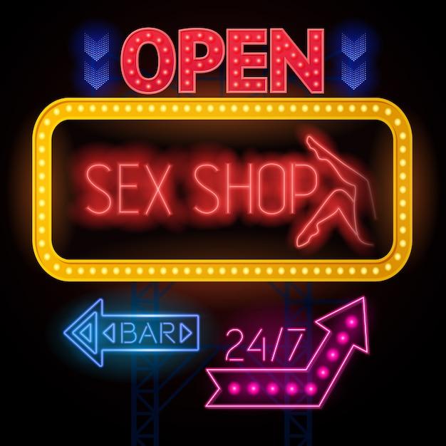 Lichtgevende sexshop-tekenset Gratis Vector