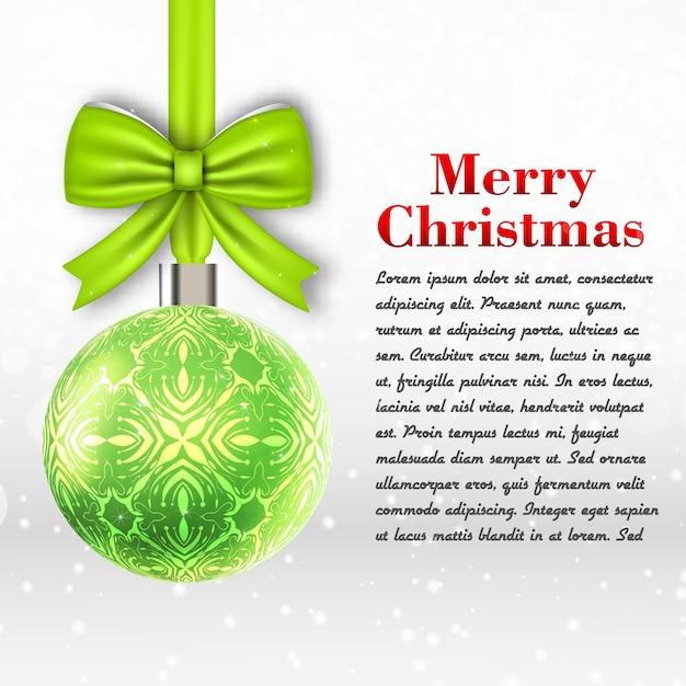 Lichtgrijs merry christmas-sjabloon met tekstveld en grote decoratie bal platte vectorillustratie Gratis Vector
