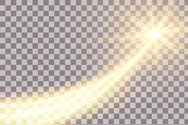 Lichtlijn gouden wervelingseffect. Premium Vector