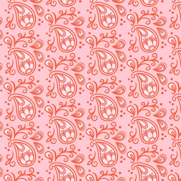 Lichtrood paisley bandana naadloos patroon Premium Vector