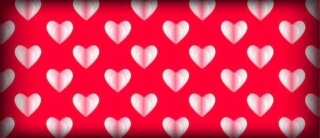 Lichtrose hartpatroon voor valentijnskaartdag Premium Vector