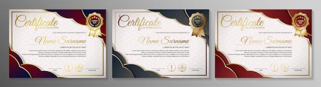 Lidmaatschapscertificaat beste award diploma sjabloon set. Premium Vector