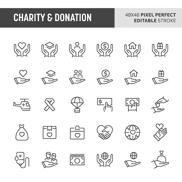 Liefdadigheid & donatie icon set Premium Vector